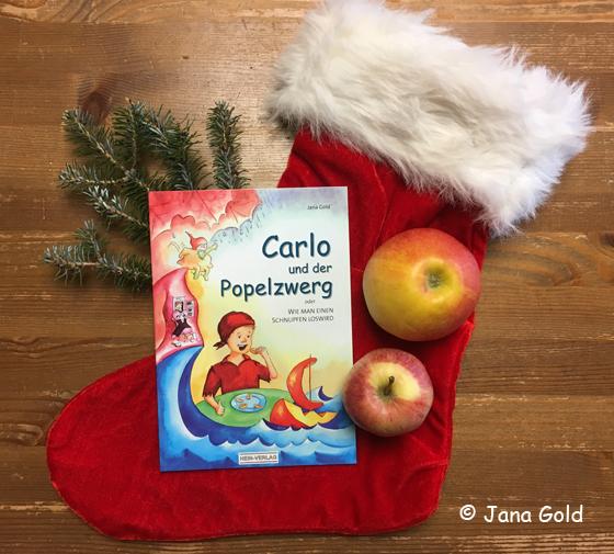 Nikolausstiefel, zwei Äpfel mit dem Buch
